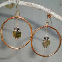 Bronze and Pyrite Earrings