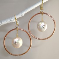 Copper and Coin Pearl Earrings
