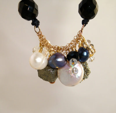 Pearl and Pyrite Cluster Necklace on Black Czech Crystal