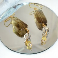 Smoky Quartz and Crystal Earrings