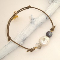 Coin Pearl, Crystal, and Cotton Bracelet