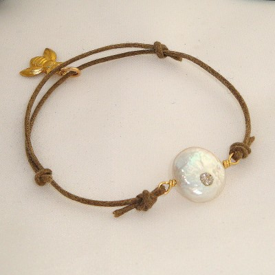 Coin Pearl and Cotton Bracelet