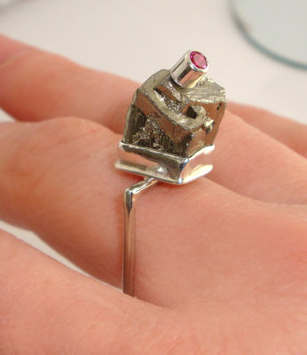 Pyrite and Pink Tourmaline Ring
