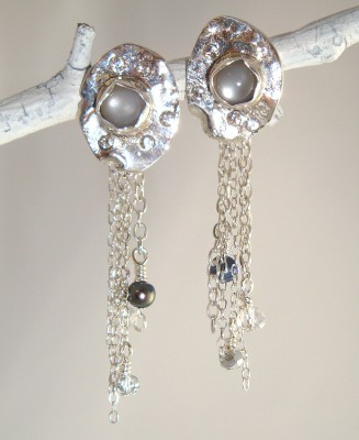 Silver Moonscape Earrings