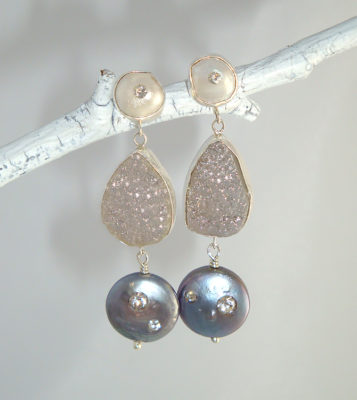 Crater and Pearl Earrings