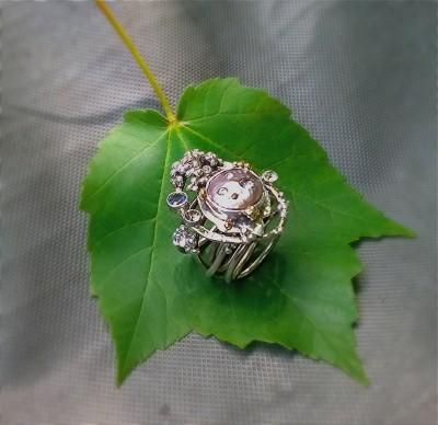 Pearl Meteorite Ring