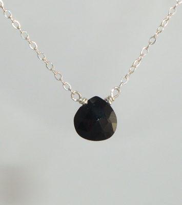 Black Spinel Drop Necklace