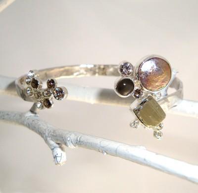 Pyrite and Pearl Cuff Bracelet