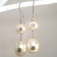 Pyrite Pearl Earrings
