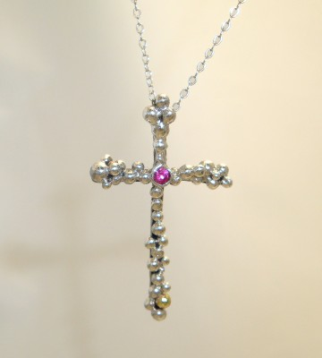 Ruby Heart Cross