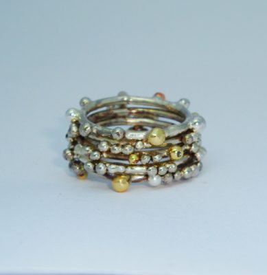Gunmetal and Gold Stack Ring Set