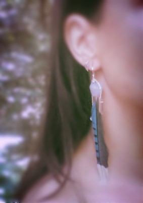 Blue Jay and Lilac Chalcedony Earrings