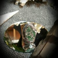 Green Druzy Adjustable Ring