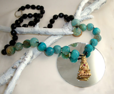Tourmaline Buddha Necklace