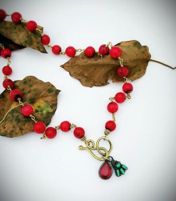 Padparadscha Teardrop Necklace