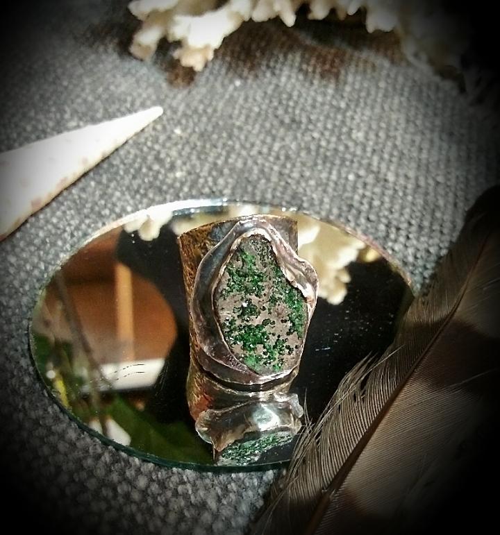 Green Druzy Adjustable Ring
