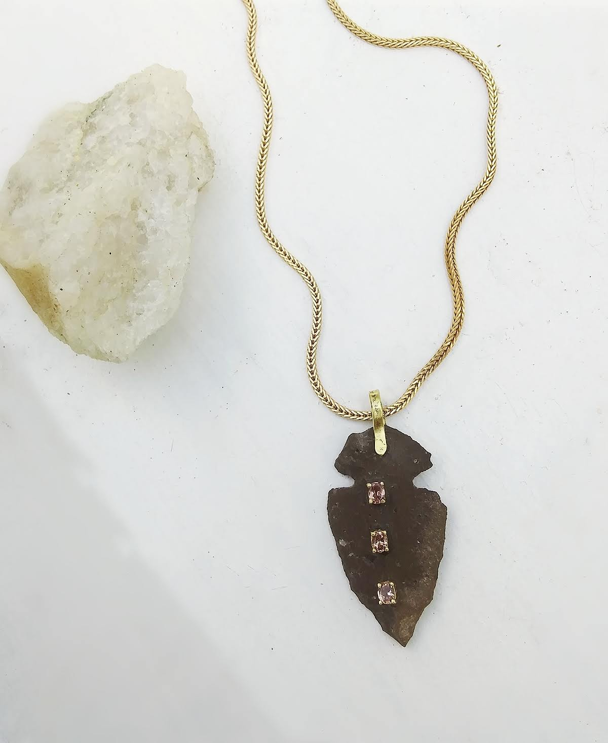 Morganite Arrowhead Necklace